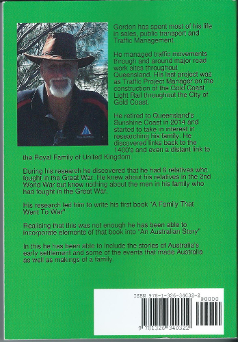 back cover an Australian Story by Gordon Smith